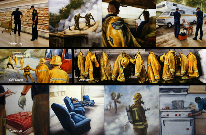 Collection of Jason Greenes paintings of the fire department